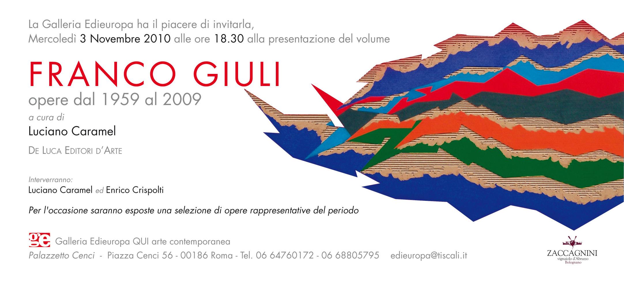 Franco Giuli, opere dal 1959 al 2009 invito