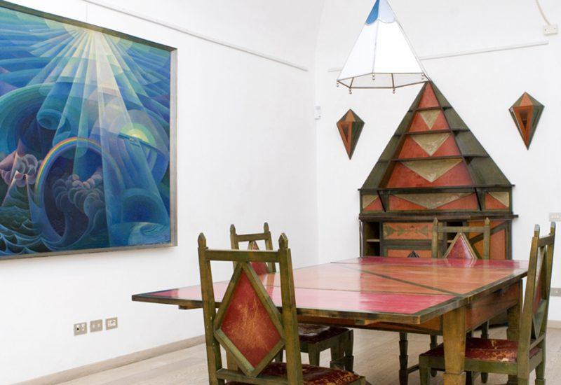 Ambientazioni Futuriste Gerardo Dottori, la sala da pranzo; dipinti futuristi e contaminazioni contemporanee